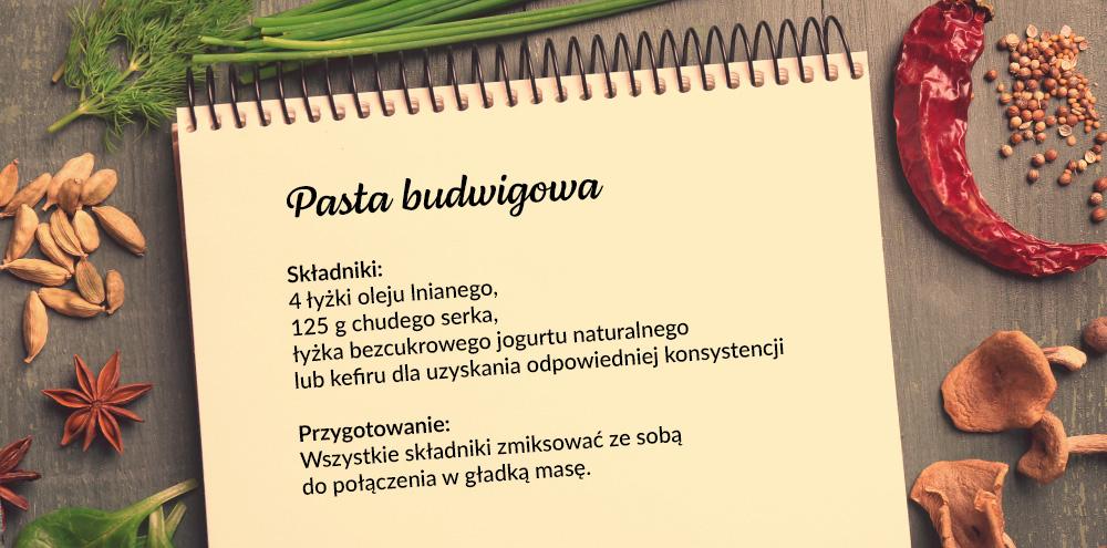 Pasta budwigowa Składniki: 4 łyżki oleju lnianego,  125 g chudego serka,  łyżka bezcukrowego jogurtu naturalnego lub kefiru dla uzyskania odpowiedniej konsystencji Przygotowanie:  Wszystkie składniki zmiksować ze sobą do połączenia w gładką masę.