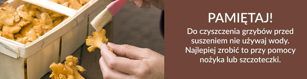 """Pamiętaj! Do czyszczenia grzybów przed suszeniem nie używaj wody. Najlepiej zrobić to przy pomocy nożyka lub szczoteczki."""""""